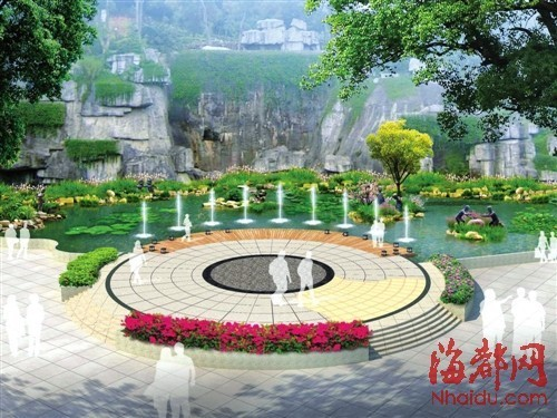 金牛山公园 春节换新装    音乐喷泉已拆,改建亲水平台,增加绿岛