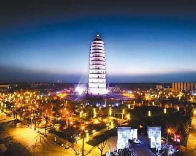 图为西咸新区泾河新城崇文塔景区夜景.高清图片