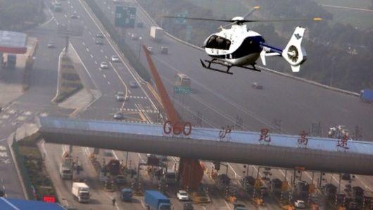 空地联勤 上海直升机巡查春运高速路况