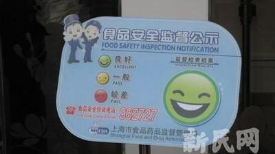 沪笑脸公示牌引二维码 一扫知食品安全
