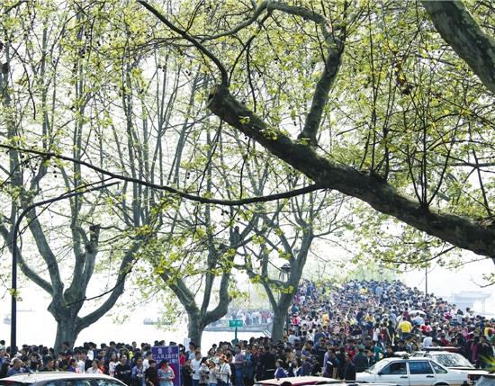 杭州清明遇大拥堵 西湖边挤到没法骑车