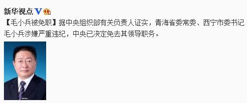 西宁市委书记毛小兵涉严重违纪被免职