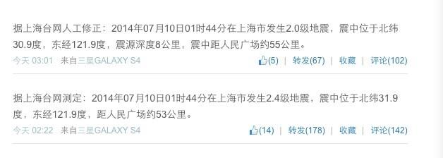 上海今日凌晨发生2.0级地震 网友称被震醒