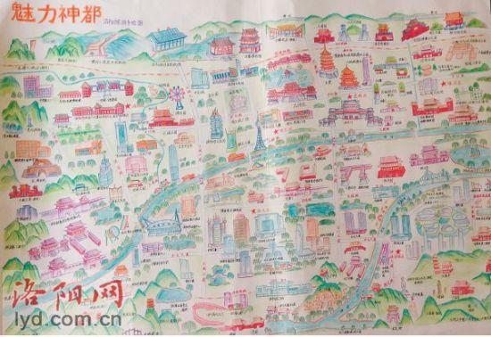 大学生手绘实景洛阳地图 欲作礼品送给来洛游客