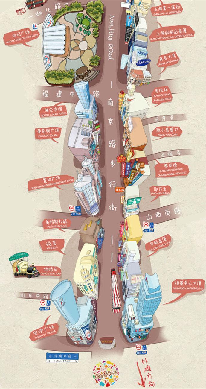 史上最萌南京路步行街手绘地图!