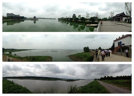 记者用手机拍摄的全景照片,自上而下依次为天门西湖,荆州长湖,仙桃排