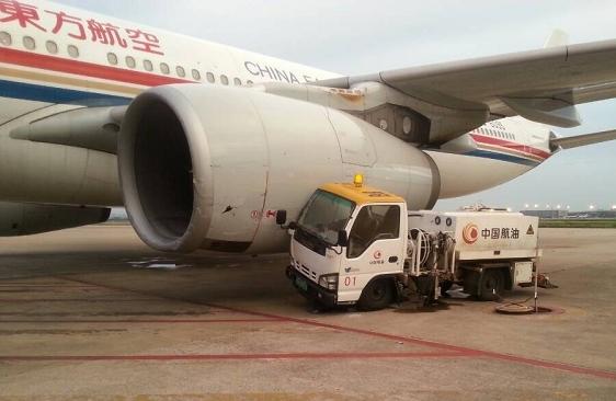 东航台北-虹桥航班飞机与加油车碰擦受损