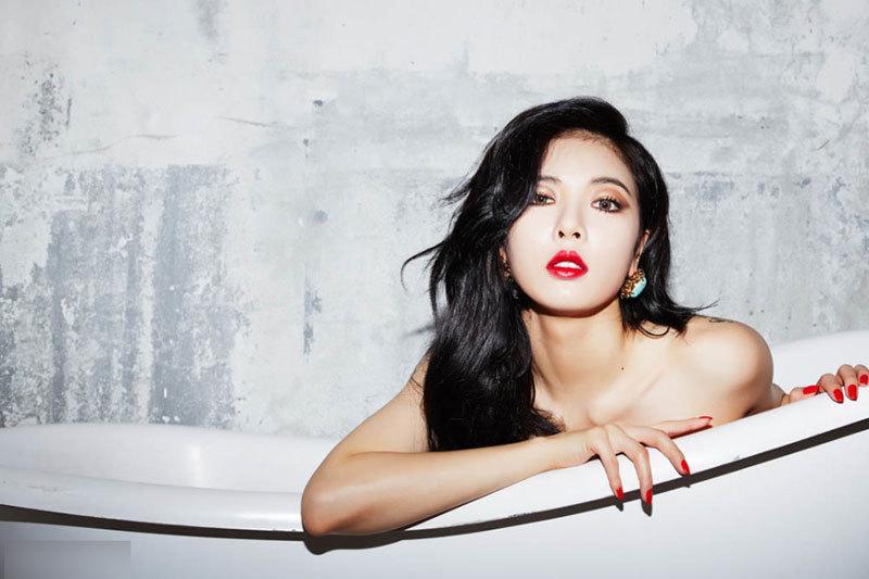 泫雅诱惑_泫雅专辑写真红裙秀曲线肩带滑落性感诱惑