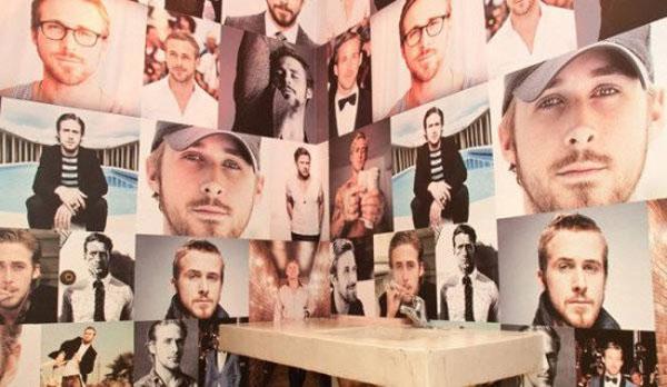 餐厅女洗手间贴满英俊男星照片 受女顾客热捧 高清图片