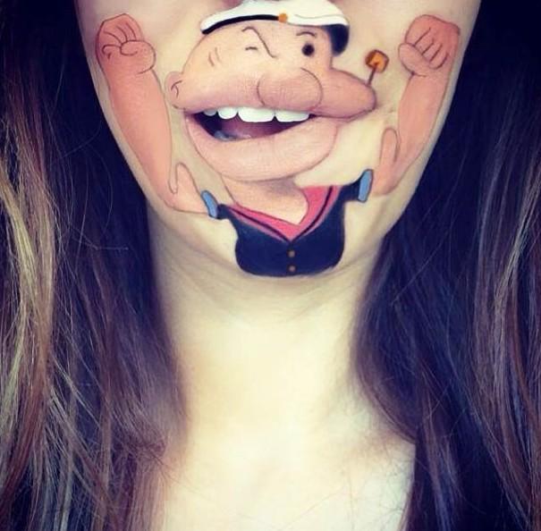 英艺术家嘴唇上画卡通人物走红