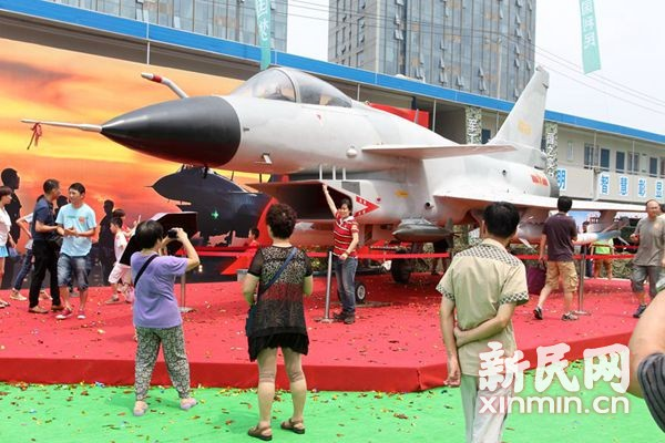 歼-10首展申城引关注 国防兵器展开幕观众排队进场