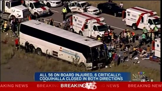 一旅游大巴在加拿大翻车 56名游客受伤多为华人