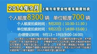 9月沪牌拍卖额度增900辆 警示价仍为72600元