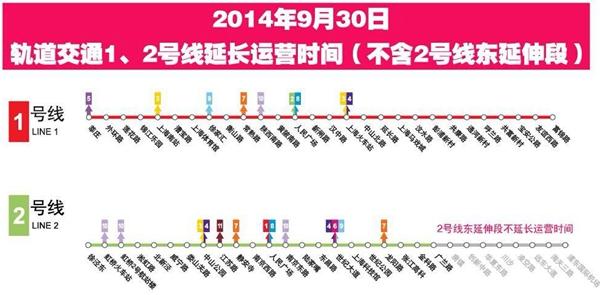 国庆前夜1、2号线延时运营80分钟 沿线公交同步延时