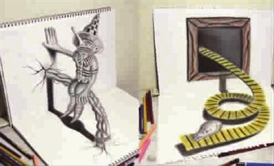 日本青年3D铅笔素描网上走红 成品有立体效果图片
