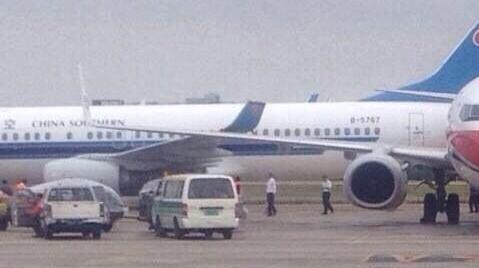 广州白云机场南航东航两飞机刮蹭  无人员伤亡
