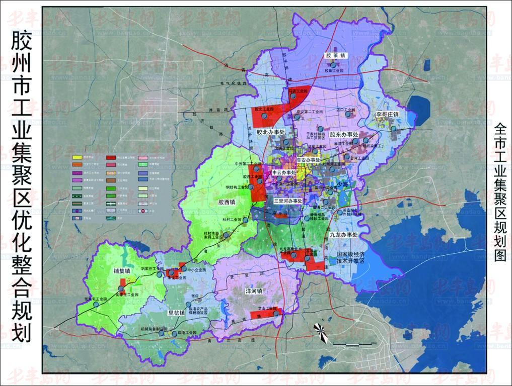 州市工业集聚区规划图(红色区域为工业集聚区).-胶州镇级工业集