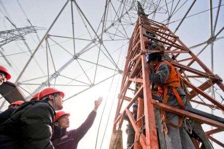 上海立起最高特高压铁塔迎新年