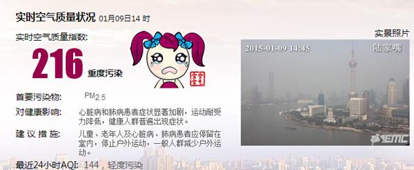 上海气象台14时43分发布霾黄色预警信号