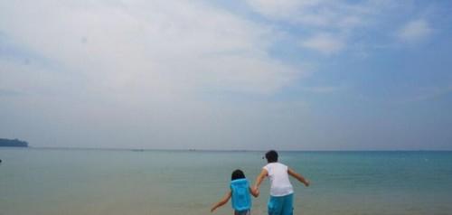 林志颖晒与儿子背影 在海边手牵手奔跑