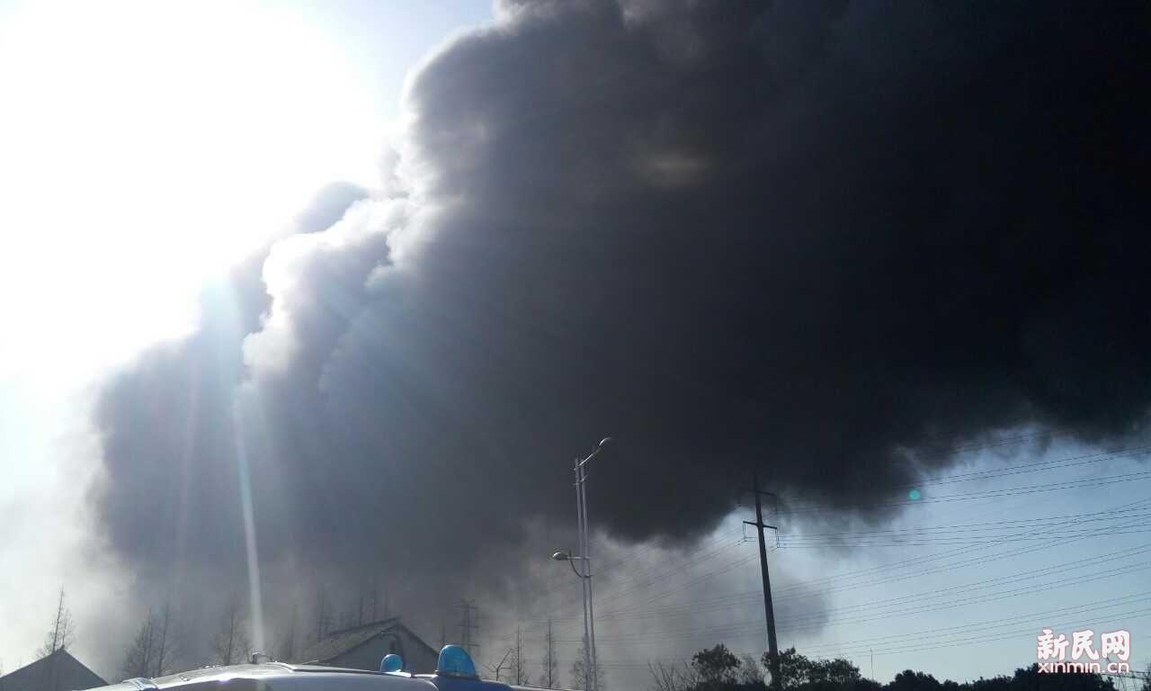 嘉定一厂房下午发生火灾 浓烟滚滚
