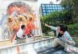 手绘3D画亮相上海枫泾古镇 一秒置身画中