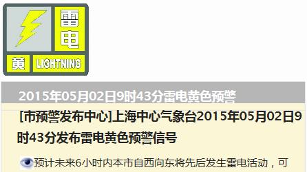 今天出游注意安全!上海已发布雷电黄色预警