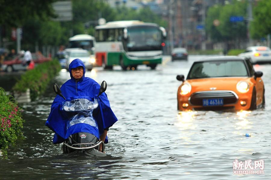 快到上海来看海 大暴雨致申城多处积水成河