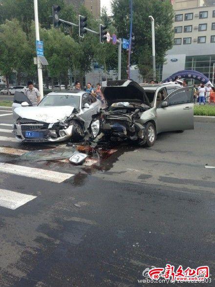 越野车逆行撞上奥迪致3人受伤
