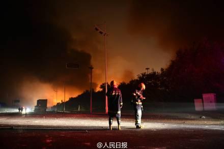 天津滨海危险品仓库爆炸 已有6名消防员牺牲