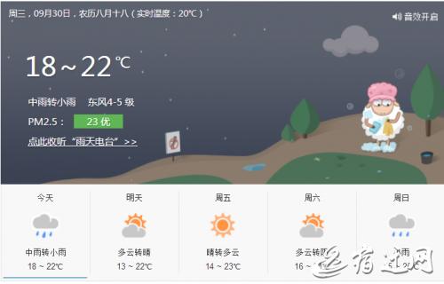 台风雨今晚告别宿迁 国庆期间天气不错 出来嗨吧
