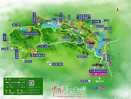 平江石牛寨风景区设计手绘地图 兼具实用性和纪念价值