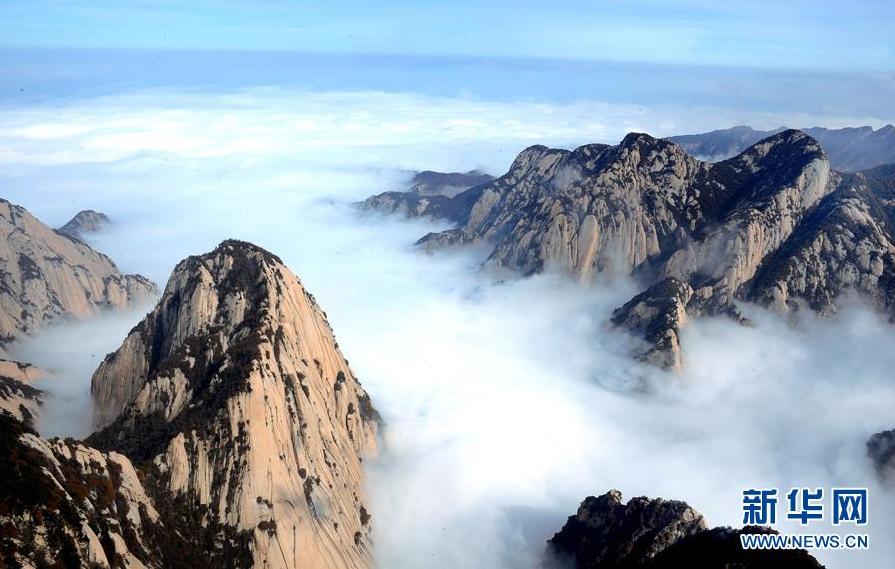 冬日华山:云雾缭绕 美如天境