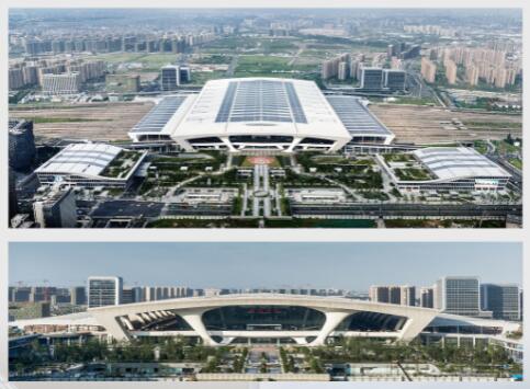 杭州东站、郑州东站等大型火车站为例,向观众展示了   绿色建高清图片