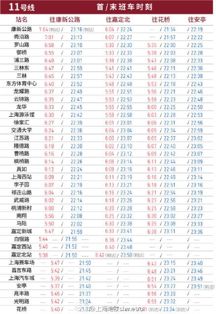 图说:11号线最新时刻表.上海地铁微博图