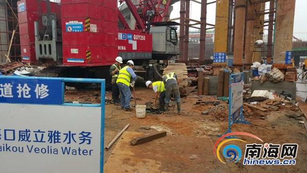 海秀快速路施工压爆水管修复完毕 已恢复正常供水图片