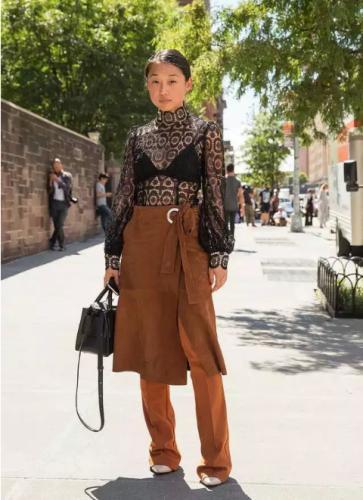:连衣裙下面配阔腿裤-教你在纽约时装周上瞬间缩短与时装精的差距