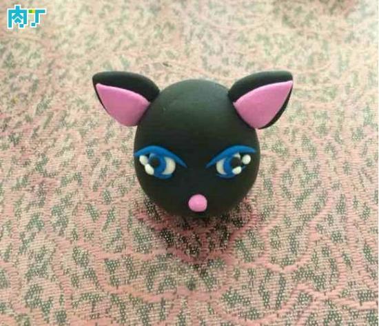 教你手工制作很萌的粘土小黑猫制作方法图解教程