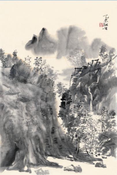 山上风景黑白画