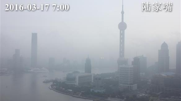 上海今晨大雾黄色预警 傍晚前后有小雨
