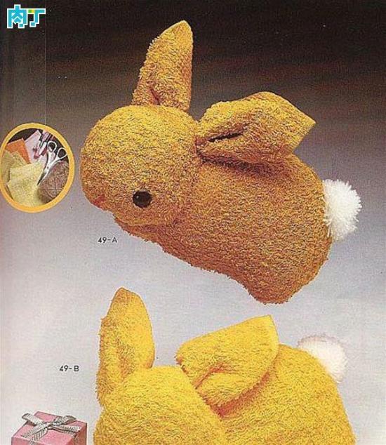 毛巾娃娃制作 用毛巾折叠可爱小兔子手工做法