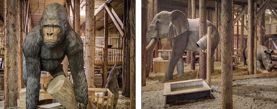 载木雕大象等动物