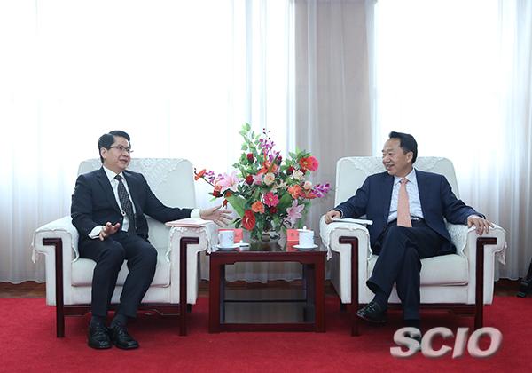 蒋建国会见新加坡驻华大使罗家良先生一行