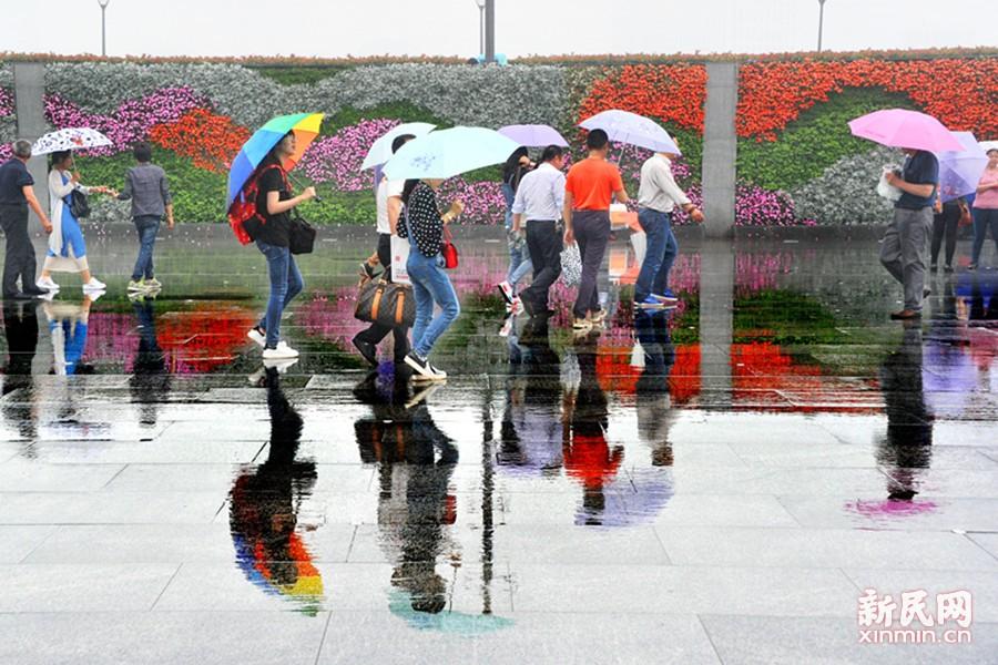 图为游客们打着雨伞在细雨中游览观光,水中的倒映宛如一幅曼妙的水彩画。新民晚报通讯员 杨建正 摄
