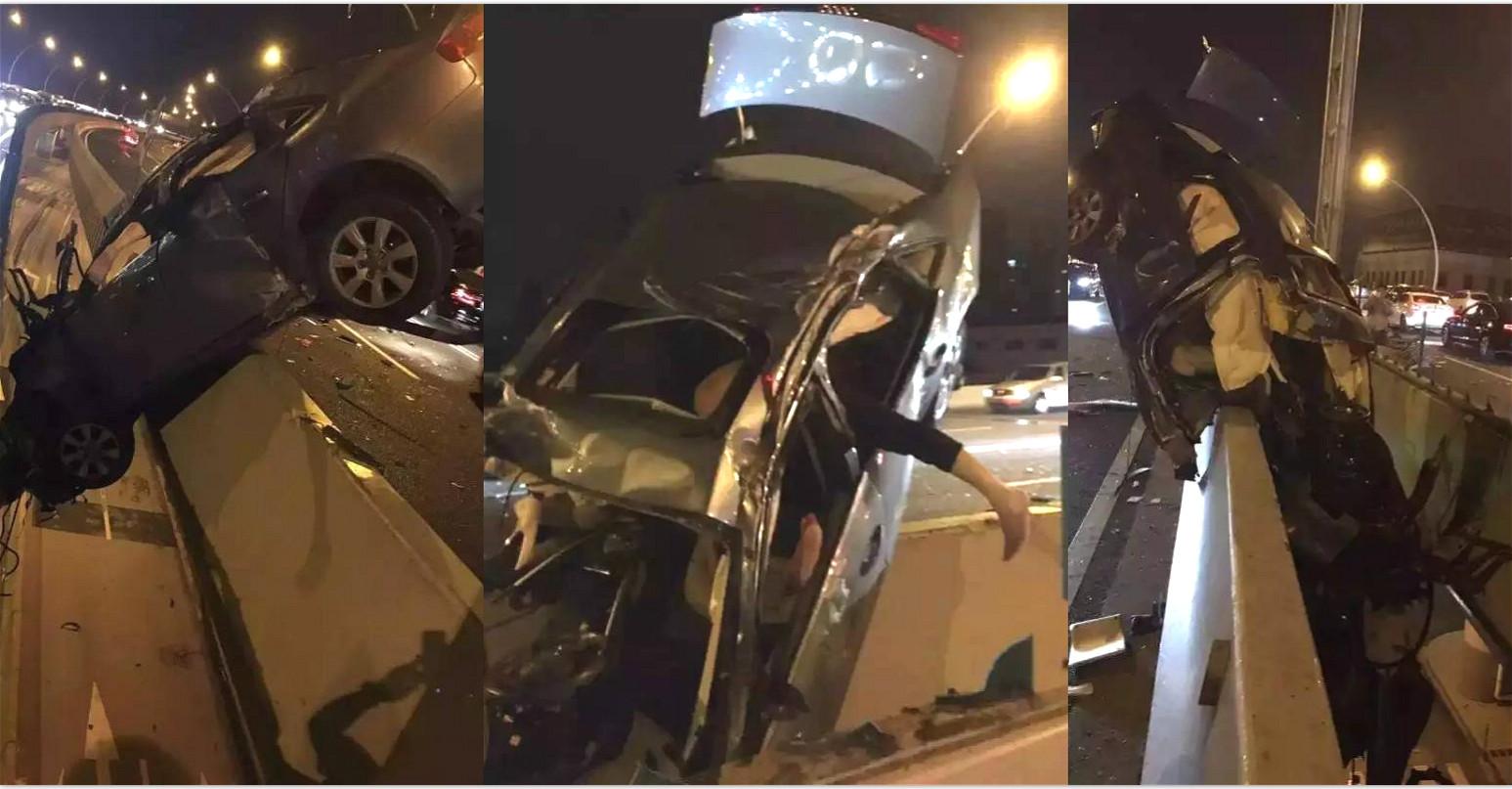 上海中环又出离奇车祸!车子居然悬在半空!