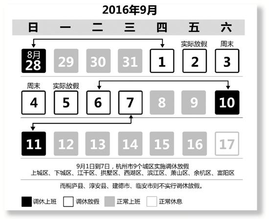 杭州G20峰会期间9月1日到7日调休放假