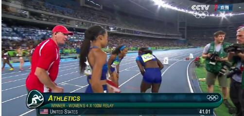 不用重赛了?美国获田径女子4×100米冠军