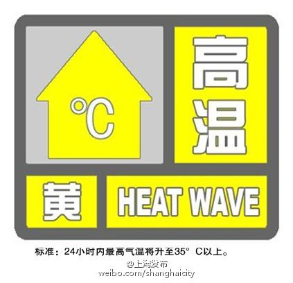 沪13时09分发布高温黄色预警 多地将超35℃
