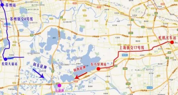 """并称,从地图上看,吴江东南部与上海轨交17号线的终点站""""东方绿舟站""""距"""
