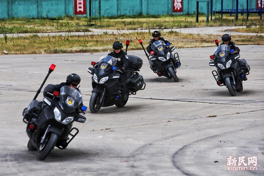 特警摩托车出击。新民晚报张龙 摄